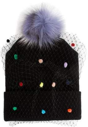 Lafayette House of Fox Fur Lace-Trimmed Beanie w/ Tags