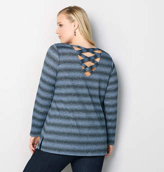 Avenue Marled Criss Cross Back Pullover