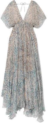 Mes Demoiselles Faience Gathered Printed Chiffon Maxi Dress - Sky blue