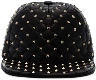 Valentino Black Rockstud leather cap