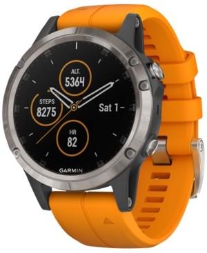 Garmin Unisex fenix 5 Plus Spark Orange Band Smart Watch 47mm