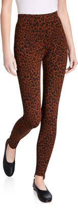 Joan Vass Leopard-Print Step-Hem Leggings