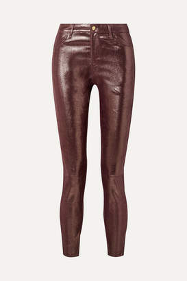 J Brand Metallic Snake-effect Leather Skinny Pants - Burgundy