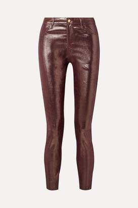 J Brand Metallic Snake-effect Leather Skinny Pants - Burgundy