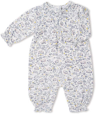 Angel Dear Forest Owl-Print Smocked Coverall, Size 0-12 Months