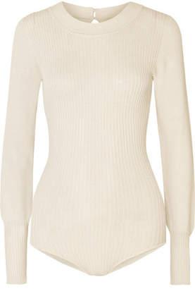 Jacquemus Stephanie Ribbed-knit Bodysuit - Ecru