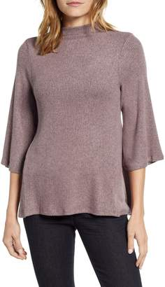 Bobeau Cozy Ribbed Mock Neck Tee