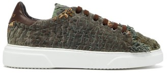 By Walid 19th Century Panelled Low Top Trainers - Mens - Green Multi