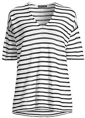 Eileen Fisher Women's Organic Linen Crepe Striped V-Neck Tee