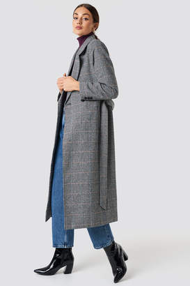 NA-KD Na Kd Double Breasted Plaid Coat Checked