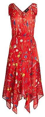 The Kooples Women's Floral Print Midi Wrap Handkerchief Dress