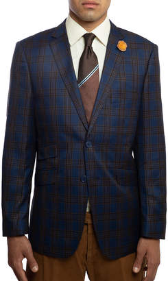 English Laundry Men's Slim-Fit Elbow-Patch Plaid Sport Jacket, Navy
