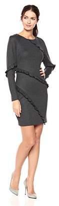 Nicole Miller Women's Ponte Asymm Ruffle Dress