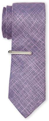 Calvin Klein Pink Intersecting Lines Silk Tie
