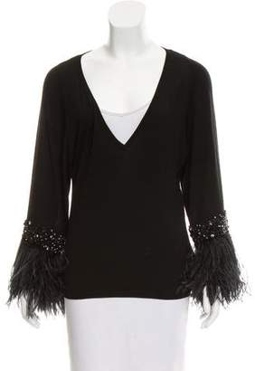 Valentino Feather Accented V-Neck Sweater w/ Tags