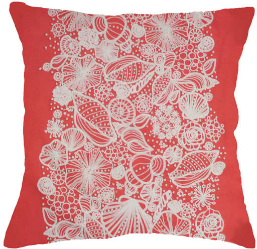 Coral Shell-Embroidered Pillow