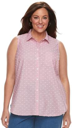 Croft & Barrow Plus Size Print Sleevless Button-Front Shirt