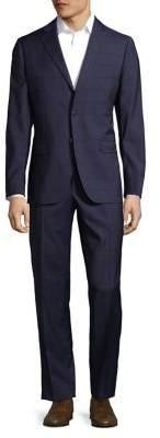 Black & Brown Black Brown Windowpane Printed Suit