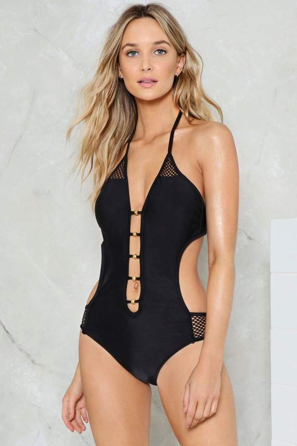 nastygal Make a Mesh Cut-Out Swimsuit