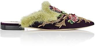 Alberta Ferretti Women's Floral-Embroidered Velvet Mules