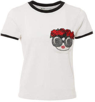 Alice + Olivia (アリス オリビア) - Alice+olivia Rylyn Embroidered Short Ringer Tee With Pocket