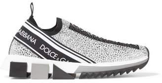 Dolce & Gabbana Sorrento Swarovski Crystal-embellished Logo-print Mesh Slip-on Sneakers - Silver