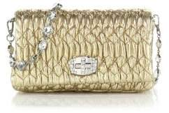 Miu MiuMiu Miu Nappa Crystal Embellished Leather Shoulder Bag