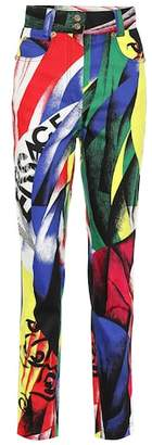 Versace Printed high-waisted jeans