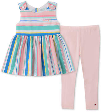 e92493c405f Tommy Hilfiger Little Girls 2-Pc. Rainbow-Stripe Tunic & Leggings Set
