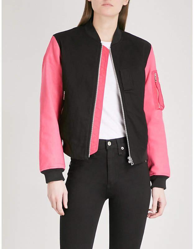 Dani contrast-sleeve cotton-twill bomber jacket