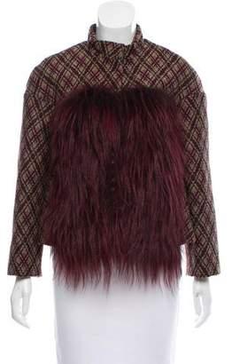 Giambattista Valli Fur-Accented Patterned Jacket