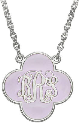 FINE JEWELRY Sterling Silver Personalized 19mm Enamel Clover Monogram Necklace