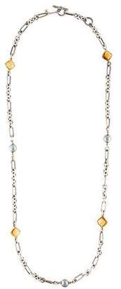 David Yurman Pearl & Citrine Long Station Necklace