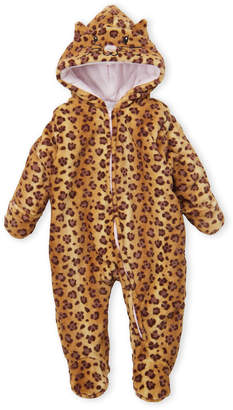 Baby Essentials Quiltex (Newborn Girls) Leopard Kitted Hooded Pram Suit
