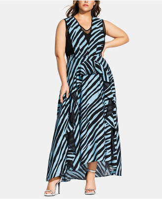 2dc8afade17e City Chic Trendy Plus Size Zebra-Print Maxi Dress