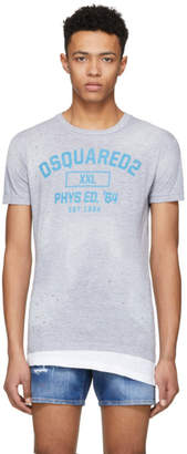 DSQUARED2 Grey Destroyed Crack Chic Dan T-Shirt