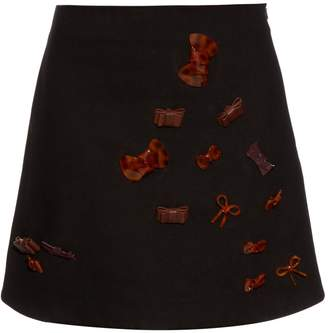 J.W.Anderson Bow-embellished cotton-twill mini skirt