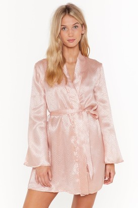 Nasty Gal Womens In For The Night Satin Jacquard Dressing Gown - Beige - 6