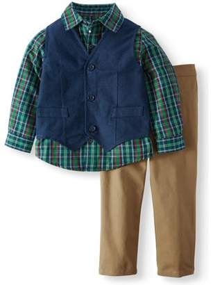 Wonder Nation Tweed Vest, Woven Button-up Shirt & Twill Pants, 3pc Outfit Set