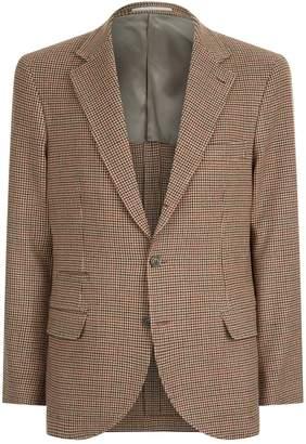 Brunello Cucinelli Houndsooth Wool-Cashmere Blazer