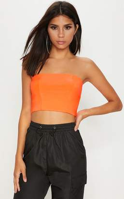 PrettyLittleThing Helsa Neon Orange Slinky Bandeau Crop Top