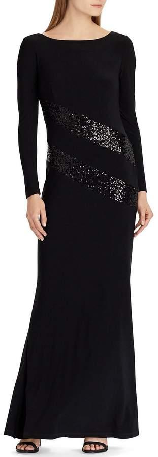 Lauren Ralph Lauren Sequin Stripe Matte Jersey Long Sleeve Sheath Gown
