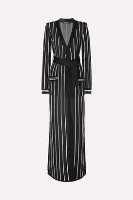 Balmain Belted Striped Stretch-knit Cardigan - Black