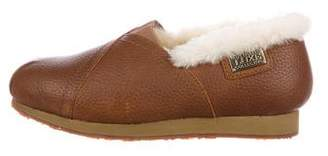 Australia Luxe Collective Leather Shearling-Trimmed Loafers
