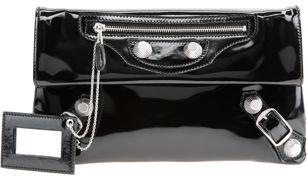 Balenciaga Cuir Miroir Giant Envelope - Black