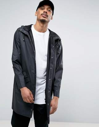 Rains Long Hooded Jacket Waterproof in Black