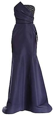 Carolina Herrera Women's Embellished Patch Strapless Silk Mermaid Gown