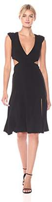 Halston Women's Cap Sleeve V Neck Flowy Skirt Crepe Dress