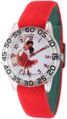 Disney Elena of Avalor, Elena Girls' Clear Plastic Time Teacher Watch, Reversible Red and Green Nylon Strap