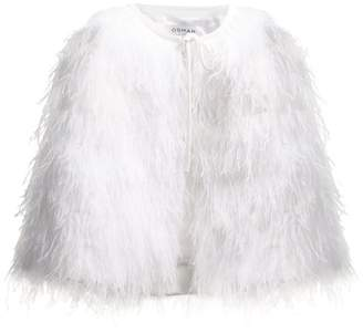 Osman Raven ostrich feather-embellished cape